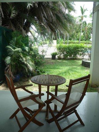 Hotel Le Recif:                   notre terrasse avec vue sur piscine !