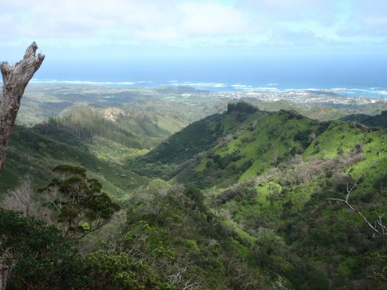 Malaekahana Beach Campground:                                     The view of Malaekahana Bay (left side), Goat Island (center