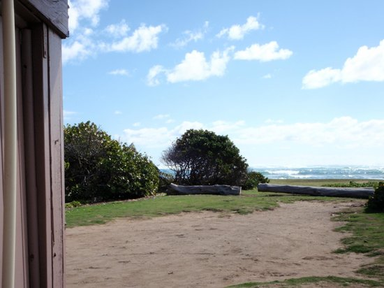 Malaekahana Beach Campground:                                     Looking towards the bay from one of the ourdoor showers