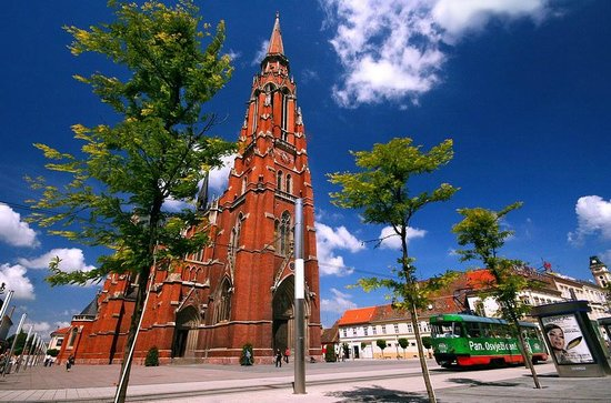Osijek, Croatia:                   cathedral and tram