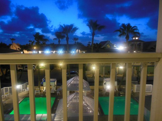 Seashell Village Resort:                                                       From the balcony, pool area at night
