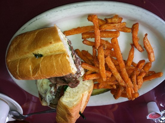 Artisan's Grill:                   Some steak like sub and sweet potato fries