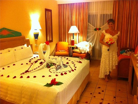 Hotel Barcelo Maya Beach:                                     Our room after the wedding!