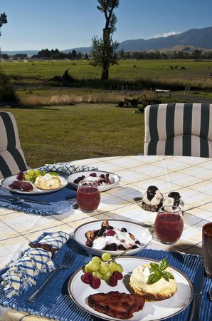 Creekside Country Haven: Breakfast on the deck