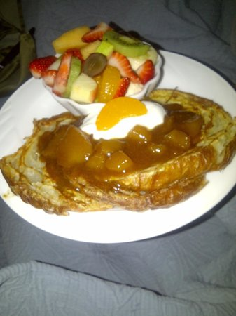 A White Jasmine Inn:                   Breakfast- croissant french toast with cinnamon apple topping, sour cream and