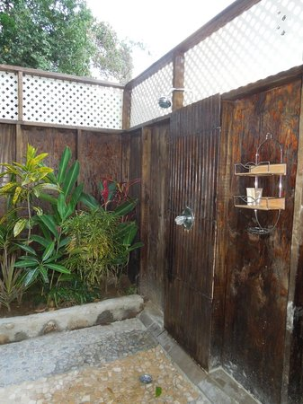 Fond Doux Plantation & Resort:                   outdoor shower