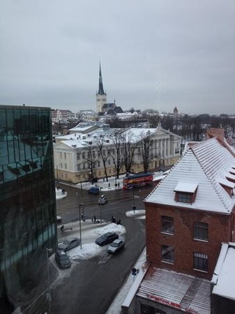 Nordic Hotel Forum:                   view from 8th floor (hop on hop off bus stop visible)