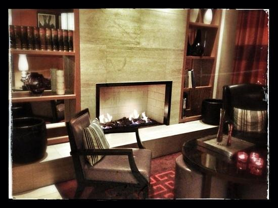 Adina Apartment Hotel Berlin Checkpoint Charlie:                   Fireplace at lobby lounge