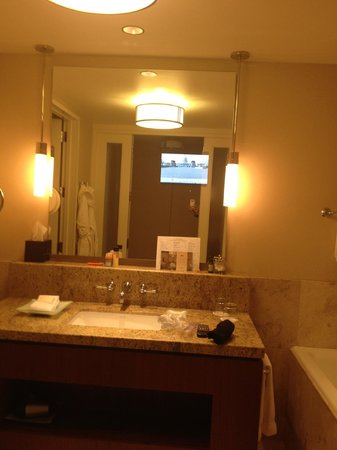 Four Seasons Hotel St. Louis:                   Bath and mirror with TV