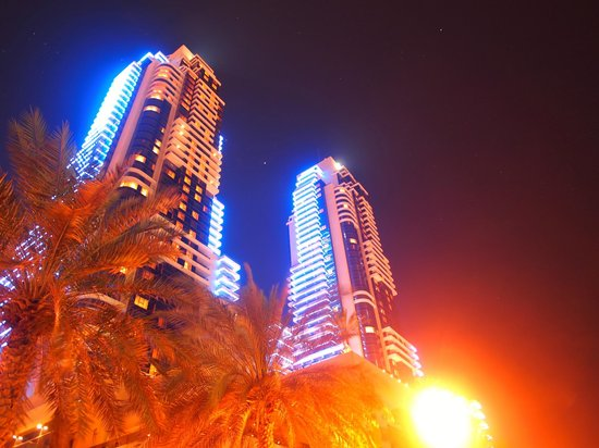 Grosvenor House Dubai:                   The hotel at night