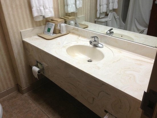 Comfort Suites Lebanon: Retro 80's faux marble sink complete with hair!