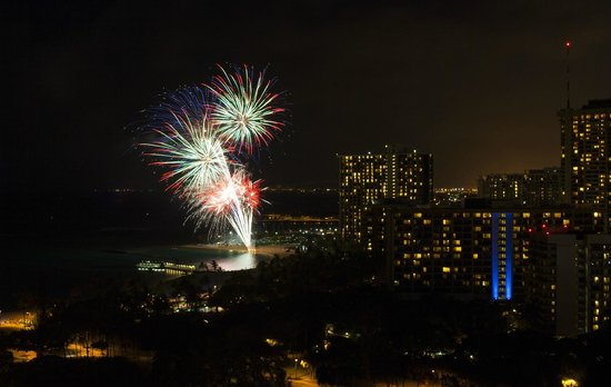 Trump International Hotel Waikiki:                   Friday night fireworks from our balcony
