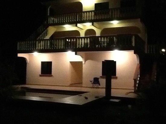 Casa de Tranquilidad:                   Front of B & B at night