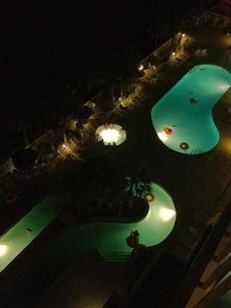 Ocean Drive Beach and Golf Resort:                   pool and lazy river at night