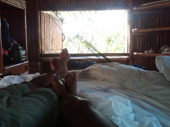 Great Huts:                   View from bed