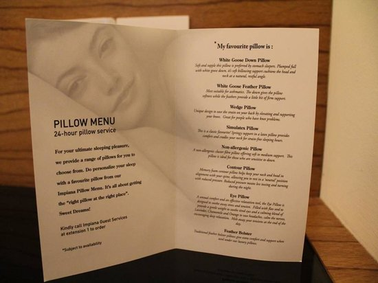 Impiana KLCC Hotel:                   Pillow menu