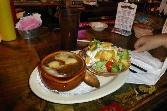 Handlebars Restaurant & Saloon:                   Onion soup