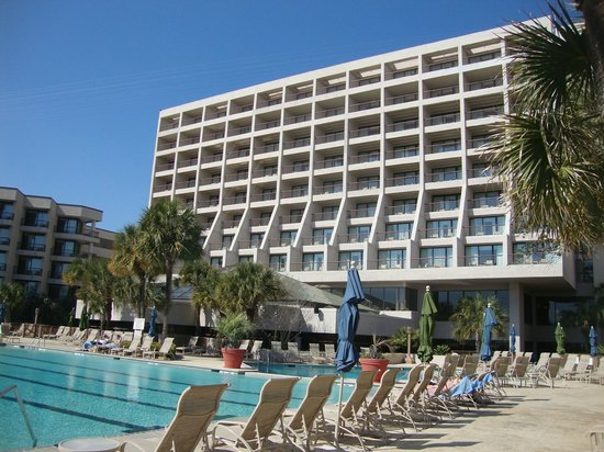 Hilton Head Marriott Resort & Spa:                                     view of hotel from pool area