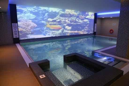 Novotel London Blackfriars:                   Swimming pool with aquarium video wall projection