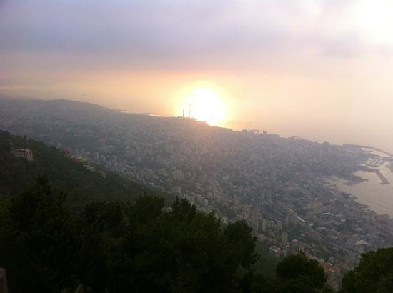 Harissa, Líbano:                                     sunset from Our Lady of Lebanon statue