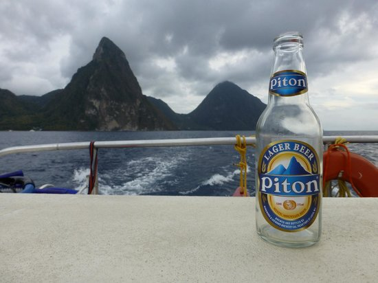 Carnival Sailing Party Cruises:                                     The Pitons from the catamaran.  Couldn't wait...had to drink