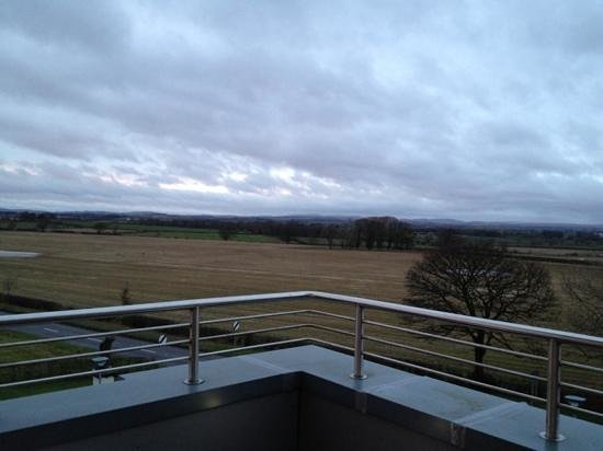 Smiths at Gretna Green Hotel:                   Penthouse suite bedroom balcony view.
