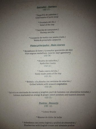 Hotel L'Auberge: Restaurantkarte
