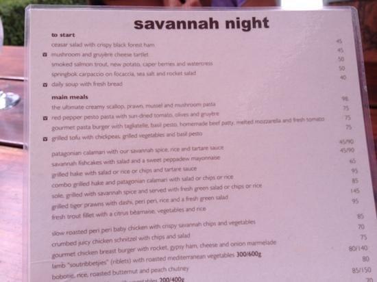 Savannah Cafe : dinner menu