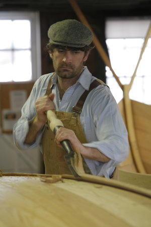 Amesbury, MA: Boatbuilder Graham McKay at work