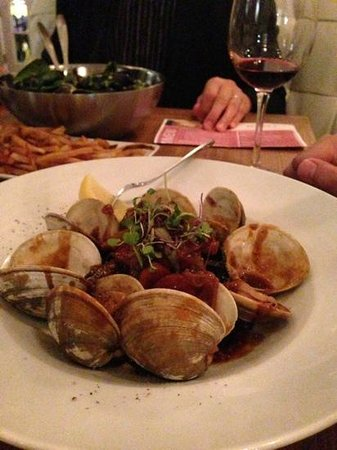 Olive Lucy's Kitchen Table:                                     The Black Pasta with clams and sweet sausage was too sweet..