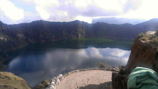 Hostal Chukirawa:                                     Lake Qulotoa a few meters from the hostel