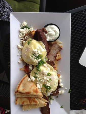 Erik's Gyros & International Deli: Greek breakfast $11. TWO meals for me.