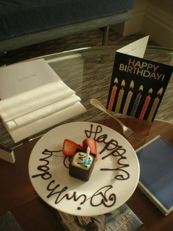 The Athenaeum Hotel & Residences:                   Mum's b'day card and cake from hotel