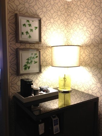 Grand Hyatt Tampa Bay:                   In-room coffee station (loved the wallpaper!)