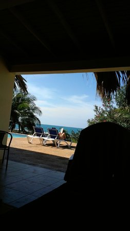 Marblue Villa Suites:                   Looking out from our living room.