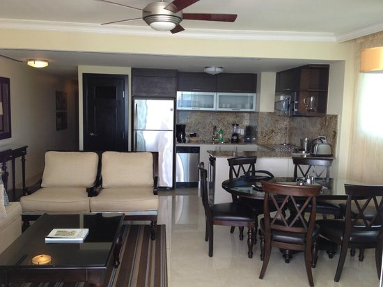Ocean Two Resort & Residences:                   Living area and kitchen