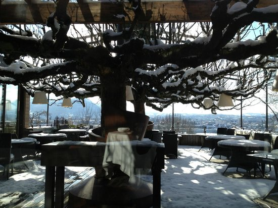 Restaurant Le Clos des Sens:                   The  Annecy lake outdoor view in winter-must be gorgeous  on the summer!