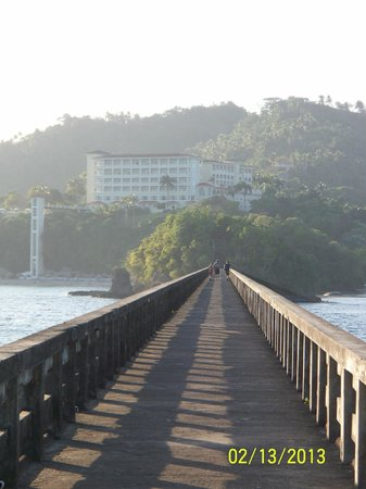 Grand Bahia Principe Cayacoa:                   Bridge walk from small island