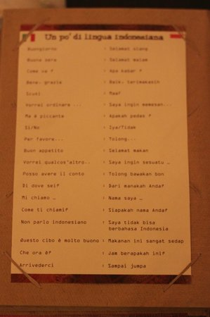 Borobudur Ristorante Indonesiano:                   The last page in the menu, I recommend use it to order or say thanks, it's fun