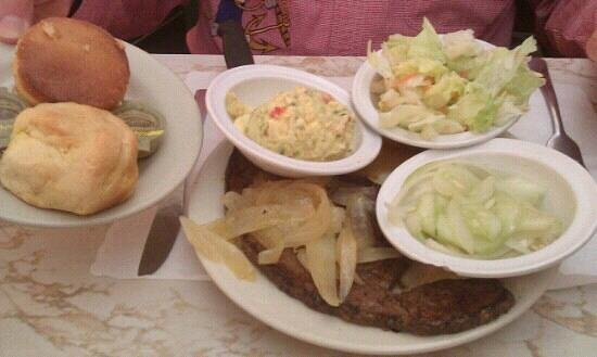 Larry's Restaurant: The liver and onions meal.