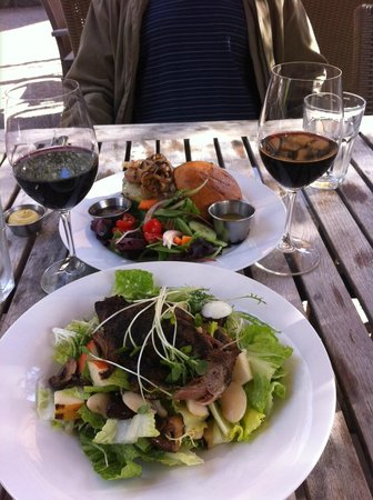 Park 121:                   my husband's burger, my rabbit/duck rillette salad with pears ea w/a glass of