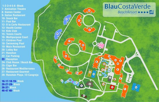 Hotel Playa Costa Verde New Resort Map That Includes The Section