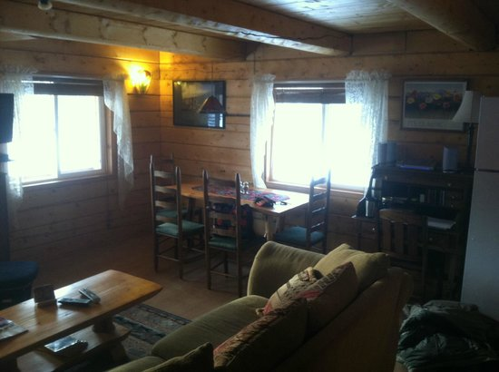 Riverbend Log Cabins & Cottage Rentals:                   Living room/dinig room area - VERY spacious