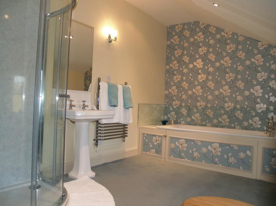 Abbotshaw House - Farm B&B: Reiver Suite Ensuite Bathroom with large power shower