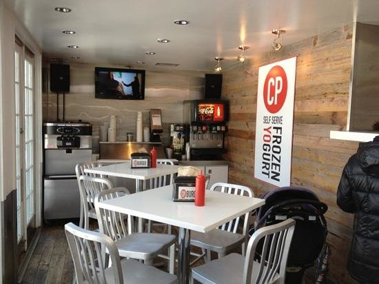 CP Burger: drink and frozen yogurt section, left of counter