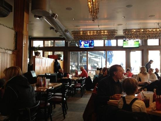 Base Camp Bar & Grill : inside dining looks on to outdoor bar/dining