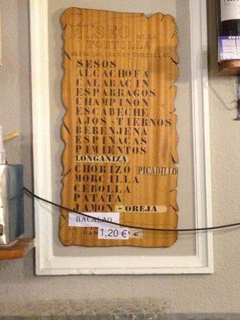 Museo de la Tortilla:                   una muestra de la variedad y precios.