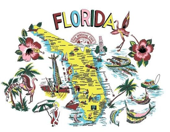 The Official Art Deco Gift Shop: Tee shirts and aprons and totes with vintage Florida motif