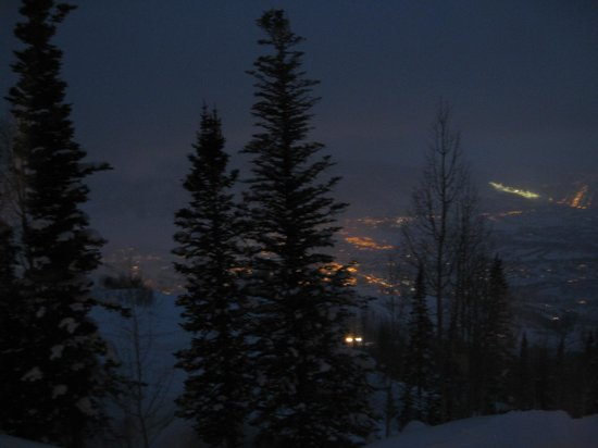 Night time view from Hazie's with town (and snow cat) lit below!