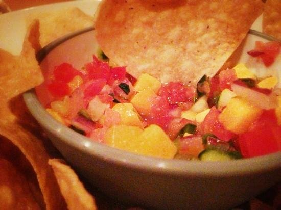 Flip Flop's Chill and Grill:                                     mango cucumber salsa